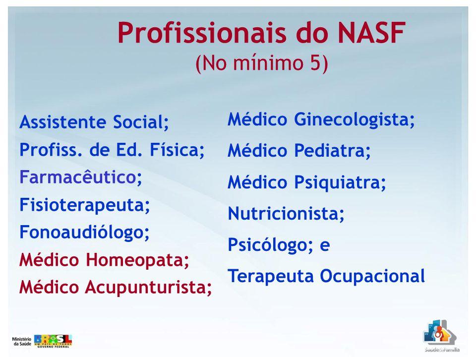 Profissionais do NASF (No mínimo 5) Assistente Social; Profiss. de Ed. Física; Farmacêutico; Fisioterapeuta; Fonoaudiólogo; Médico Homeopata; Médico A
