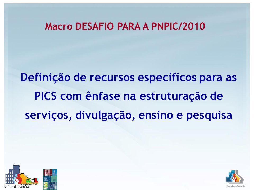 Saúde da Família Macro DESAFIO PARA A PNPIC/2010 Definição de recursos específicos para as PICS com ênfase na estruturação de serviços, divulgação, en