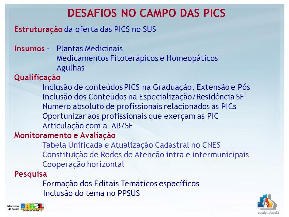 DESAFIOS NO CAMPO DAS PICS Estruturação da oferta das PICS no SUS Insumos – Plantas Medicinais Medicamentos Fitoterápicos e Homeopáticos Agulhas Quali