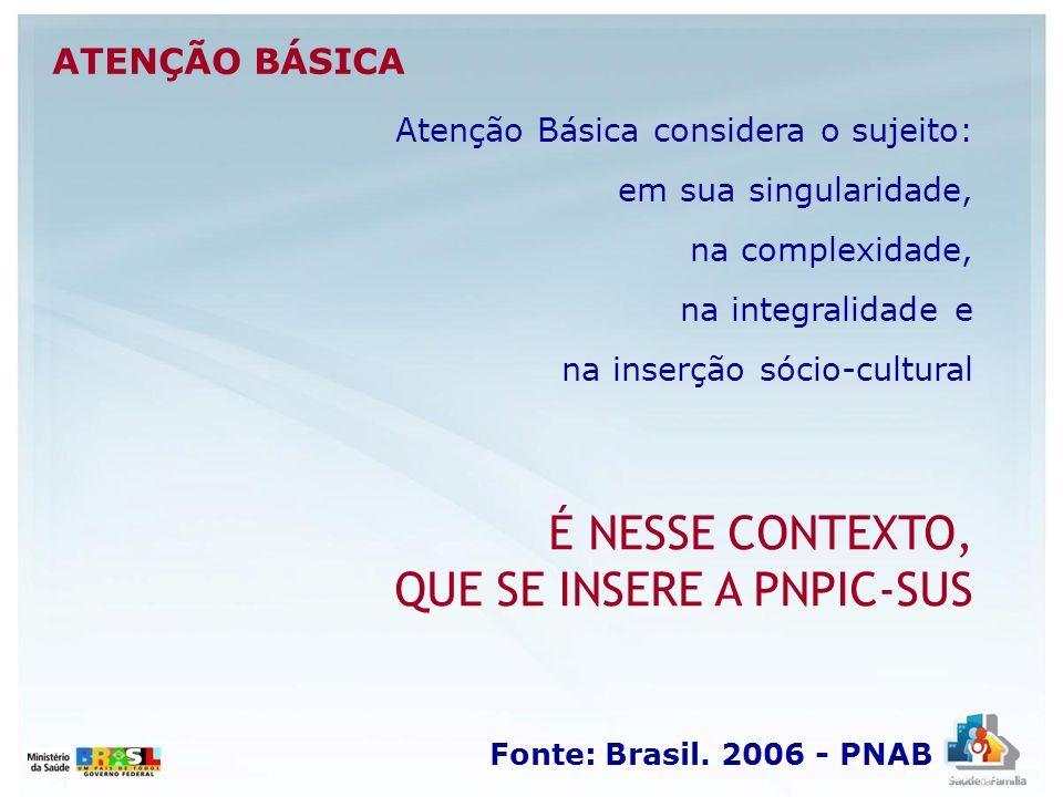 Fonte: Brasil. 2006 - PNAB ATENÇÃO BÁSICA Atenção Básica considera o sujeito: em sua singularidade, na complexidade, na integralidade e na inserção só