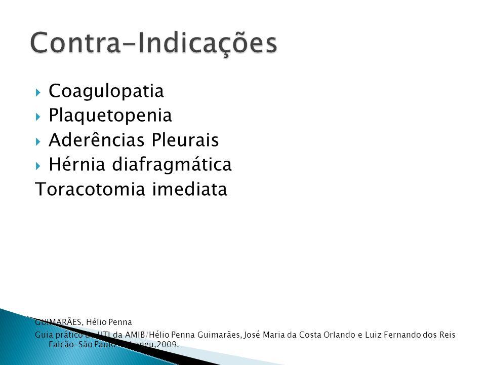 Coagulopatia Plaquetopenia Aderências Pleurais Hérnia diafragmática Toracotomia imediata GUIMARÃES, Hélio Penna Guia prático de UTI da AMIB/Hélio Penn