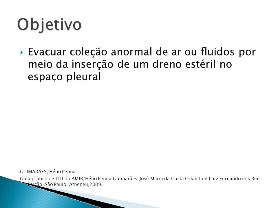 Evacuar coleção anormal de ar ou fluidos por meio da inserção de um dreno estéril no espaço pleural GUIMARÃES, Hélio Penna Guia prático de UTI da AMIB
