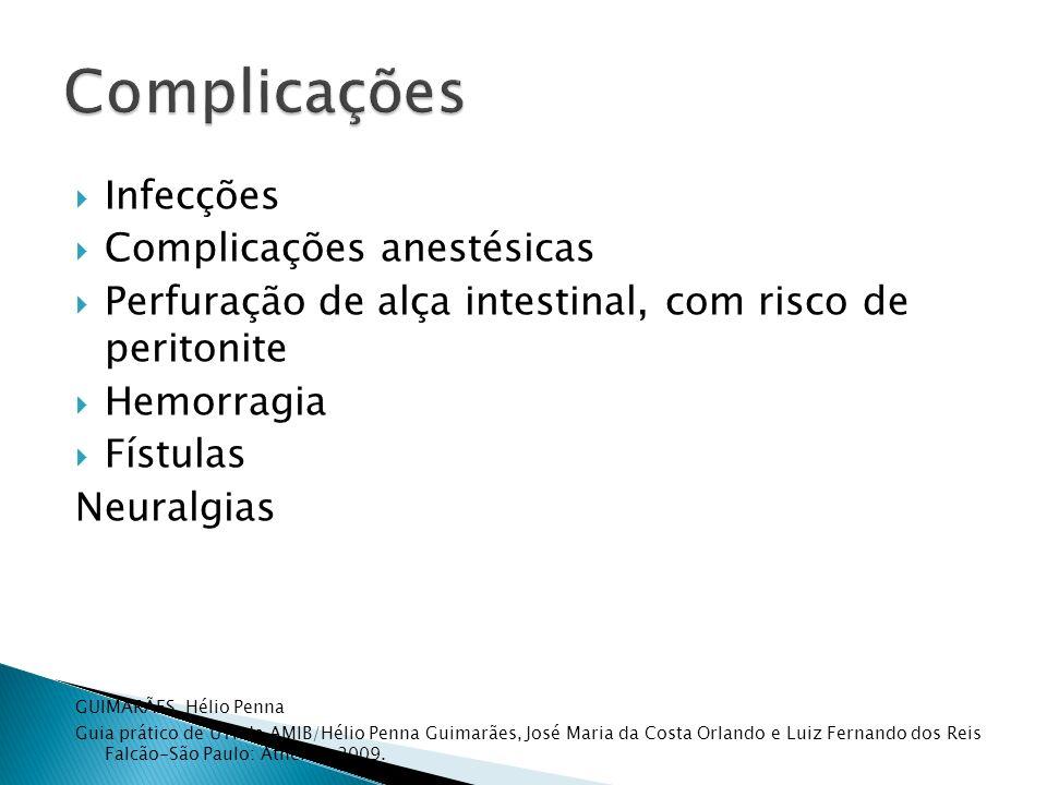 Infecções Complicações anestésicas Perfuração de alça intestinal, com risco de peritonite Hemorragia Fístulas Neuralgias GUIMARÃES, Hélio Penna Guia p