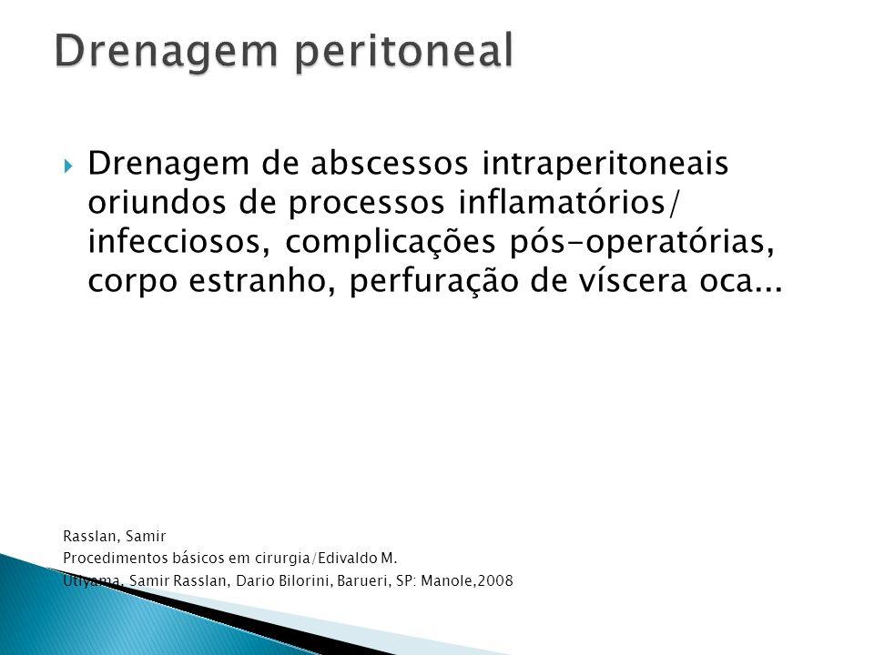 Drenagem de abscessos intraperitoneais oriundos de processos inflamatórios/ infecciosos, complicações pós-operatórias, corpo estranho, perfuração de v