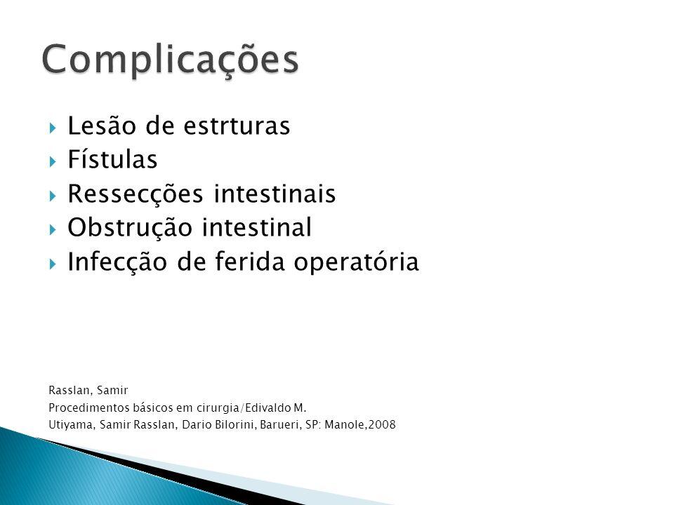 Lesão de estrturas Fístulas Ressecções intestinais Obstrução intestinal Infecção de ferida operatória Rasslan, Samir Procedimentos básicos em cirurgia