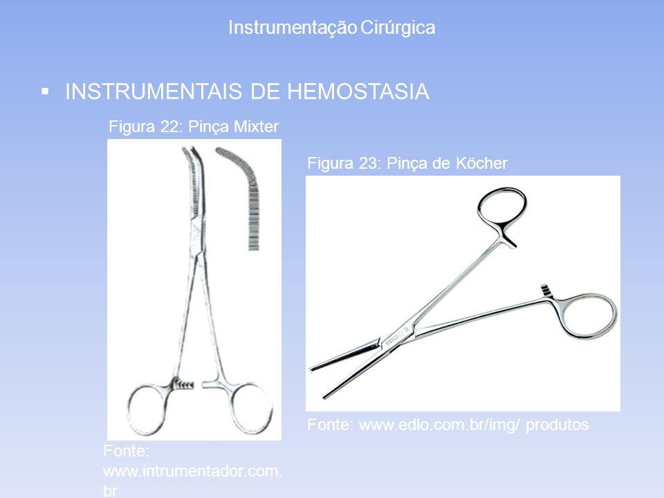 Instrumentação Cirúrgica INSTRUMENTAIS DE HEMOSTASIA Figura 22: Pinça Mixter Figura 23: Pinça de Köcher Fonte: www.edlo.com.br/img/ produtos Fonte: ww