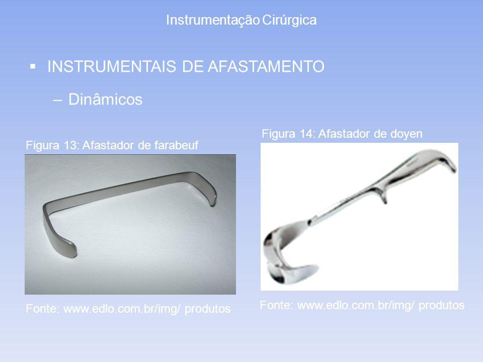 Instrumentação Cirúrgica INSTRUMENTAIS DE AFASTAMENTO –Dinâmicos Figura 13: Afastador de farabeuf Figura 14: Afastador de doyen Fonte: www.edlo.com.br
