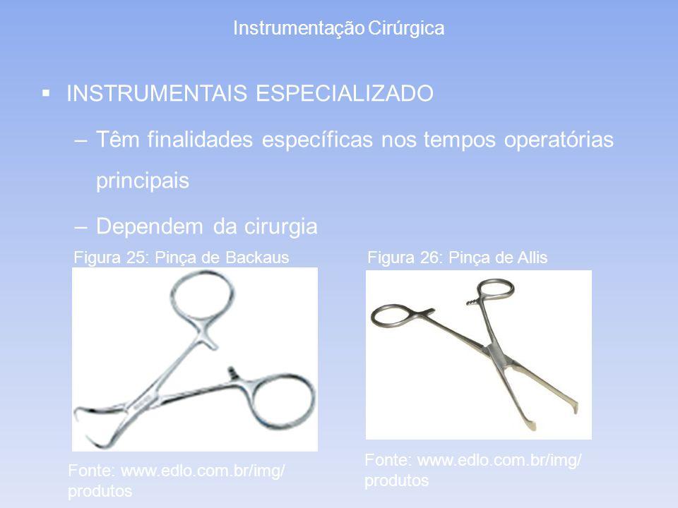 Instrumentação Cirúrgica INSTRUMENTAIS ESPECIALIZADO –Têm finalidades específicas nos tempos operatórias principais –Dependem da cirurgia Figura 25: P