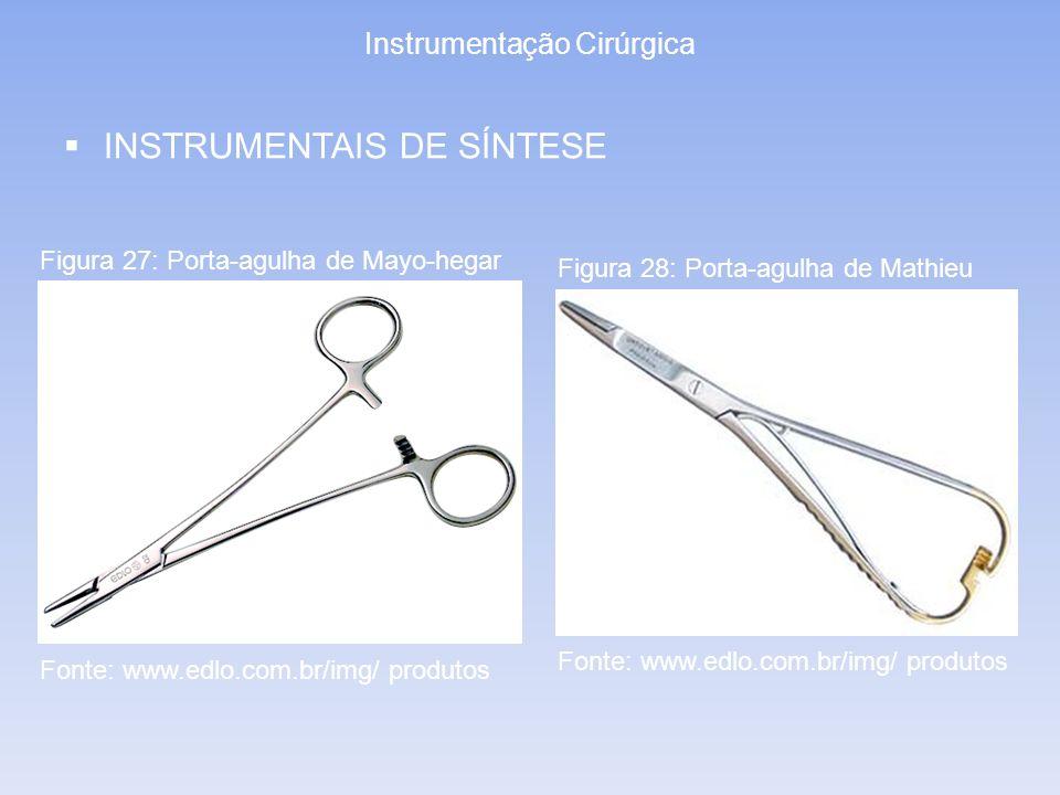 Instrumentação Cirúrgica INSTRUMENTAIS DE SÍNTESE Figura 27: Porta-agulha de Mayo-hegar Figura 28: Porta-agulha de Mathieu Fonte: www.edlo.com.br/img/