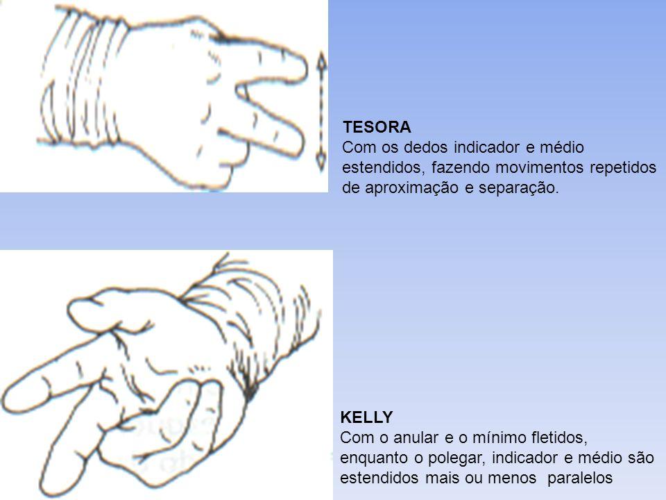 TESORA Com os dedos indicador e médio estendidos, fazendo movimentos repetidos de aproximação e separação. KELLY Com o anular e o mínimo fletidos, enq