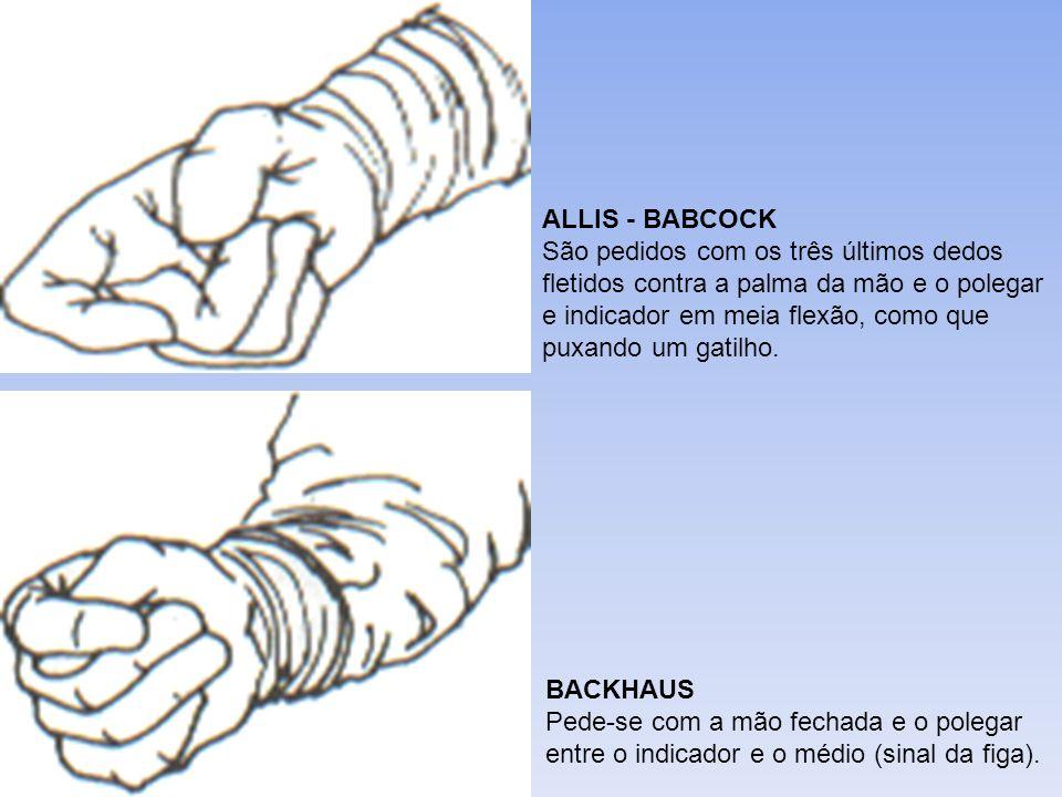 ALLIS - BABCOCK São pedidos com os três últimos dedos fletidos contra a palma da mão e o polegar e indicador em meia flexão, como que puxando um gatil