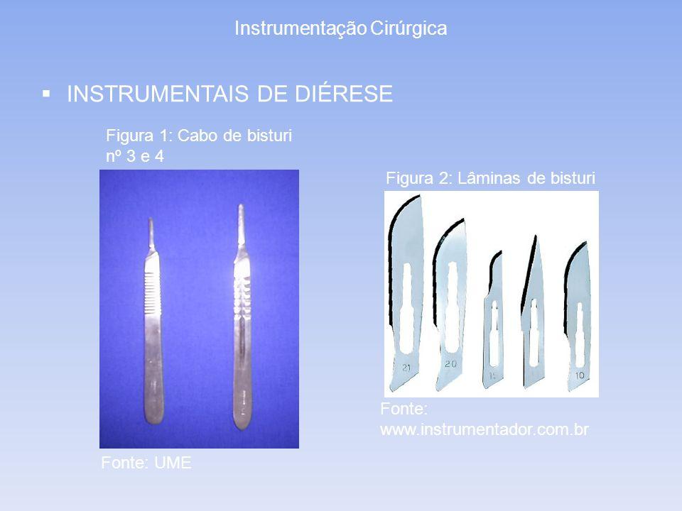 Instrumentação Cirúrgica INSTRUMENTAIS DE DIÉRESE Figura 2: Lâminas de bisturi Figura 1: Cabo de bisturi nº 3 e 4 Fonte: UME Fonte: www.instrumentador