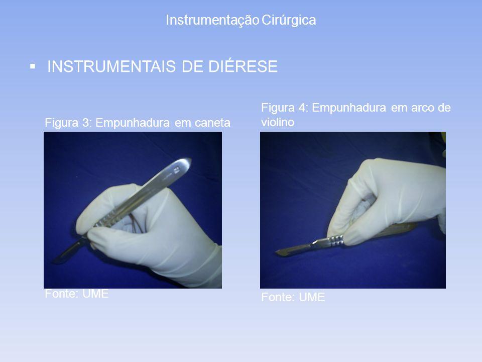 Instrumentação Cirúrgica INSTRUMENTAIS DE DIÉRESE Figura 3: Empunhadura em caneta Figura 4: Empunhadura em arco de violino Fonte: UME