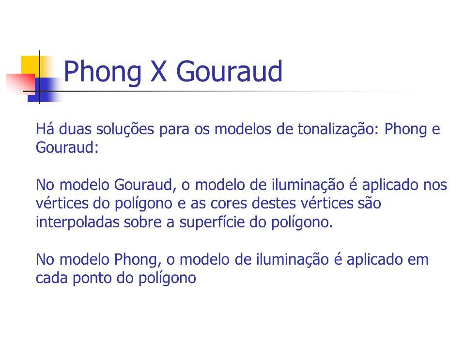 Phong X Gouraud Há duas soluções para os modelos de tonalização: Phong e Gouraud: No modelo Gouraud, o modelo de iluminação é aplicado nos vértices do polígono e as cores destes vértices são interpoladas sobre a superfície do polígono.