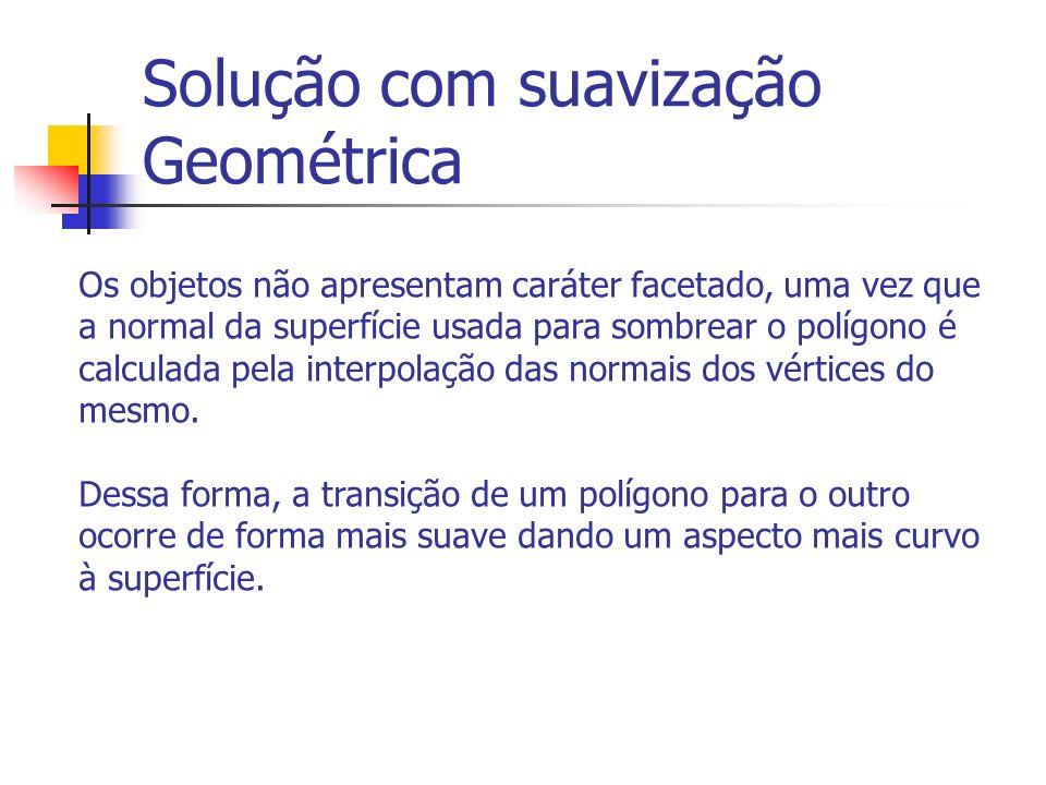 Solução com suavização Geométrica Os objetos não apresentam caráter facetado, uma vez que a normal da superfície usada para sombrear o polígono é calculada pela interpolação das normais dos vértices do mesmo.