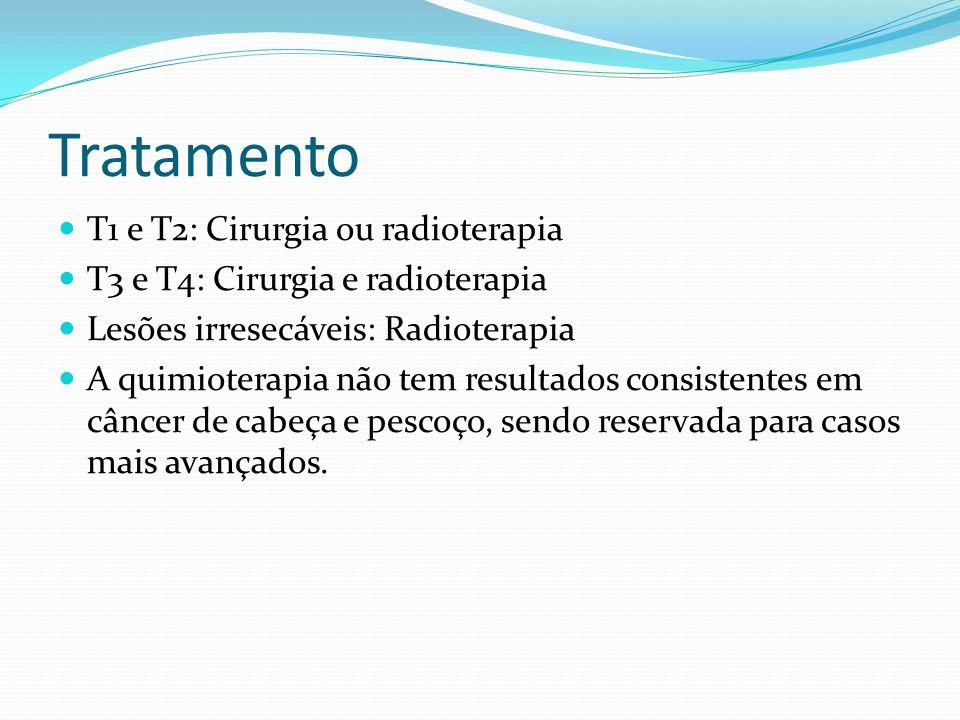Tratamento T1 e T2: Cirurgia ou radioterapia T3 e T4: Cirurgia e radioterapia Lesões irresecáveis: Radioterapia A quimioterapia não tem resultados con