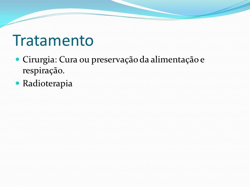 Tratamento Cirurgia: Cura ou preservação da alimentação e respiração. Radioterapia