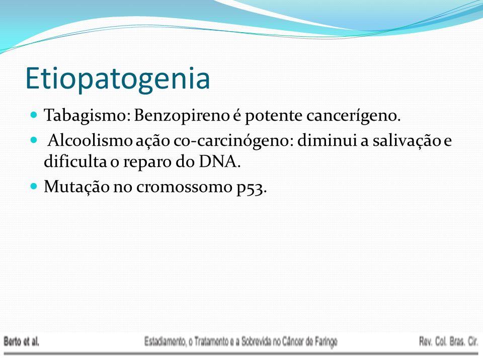 Etiopatogenia Tabagismo: Benzopireno é potente cancerígeno. Alcoolismo ação co-carcinógeno: diminui a salivação e dificulta o reparo do DNA. Mutação n
