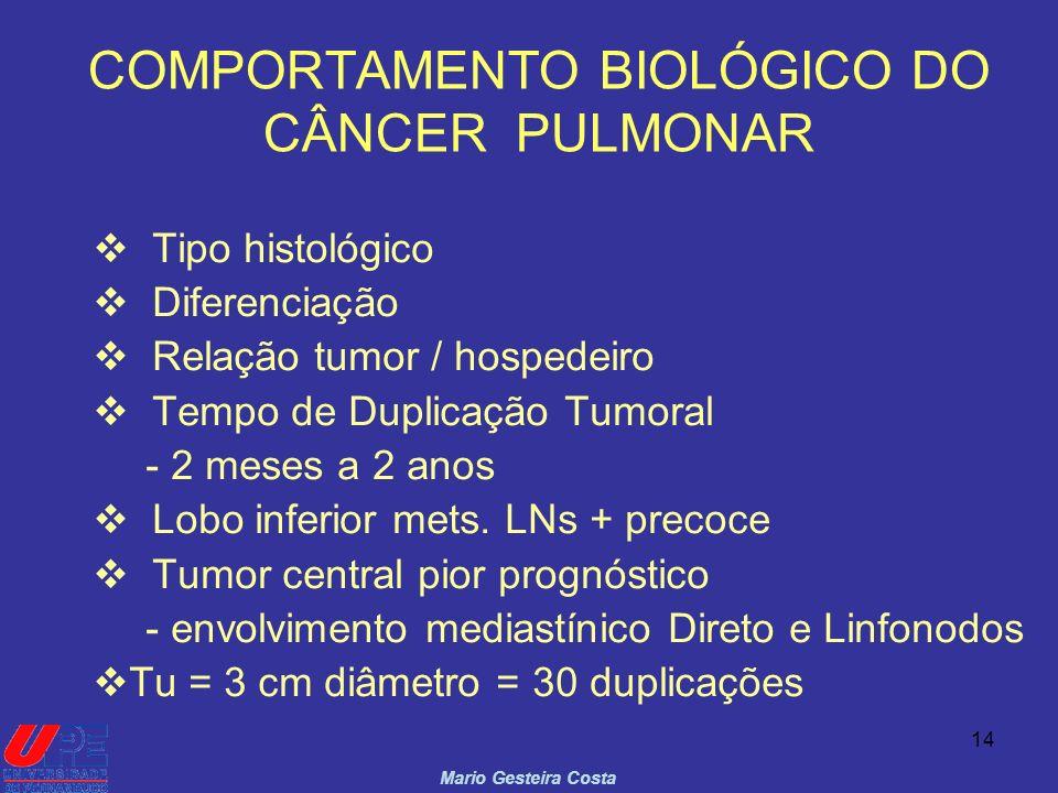 14 COMPORTAMENTO BIOLÓGICO DO CÂNCER PULMONAR Mario Gesteira Costa Tipo histológico Diferenciação Relação tumor / hospedeiro Tempo de Duplicação Tumor