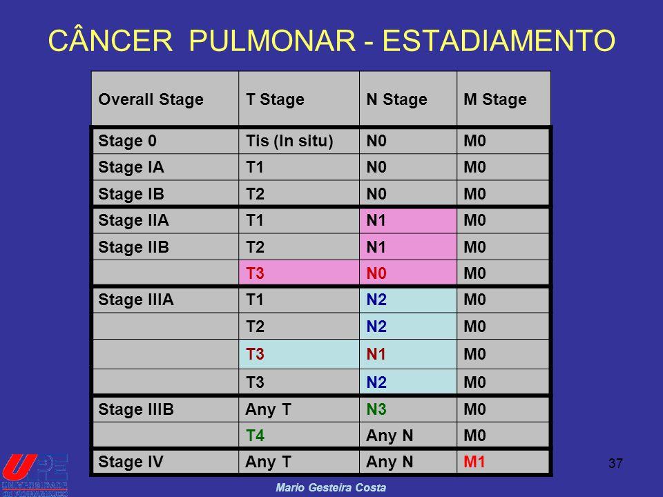37 CÂNCER PULMONAR - ESTADIAMENTO Mario Gesteira Costa Overall StageT StageN StageM Stage Stage 0Tis (In situ)N0M0 Stage IAT1N0M0 Stage IBT2N0M0 Stage