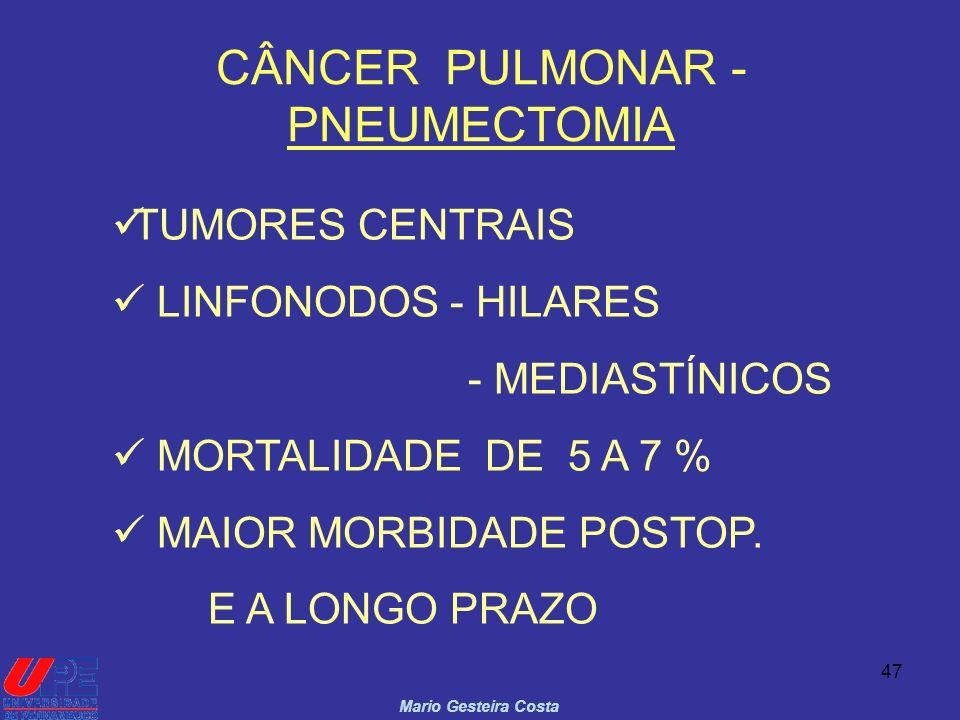 47 CÂNCER PULMONAR - PNEUMECTOMIA Mario Gesteira Costa TUMORES CENTRAIS LINFONODOS - HILARES - MEDIASTÍNICOS MORTALIDADE DE 5 A 7 % MAIOR MORBIDADE PO