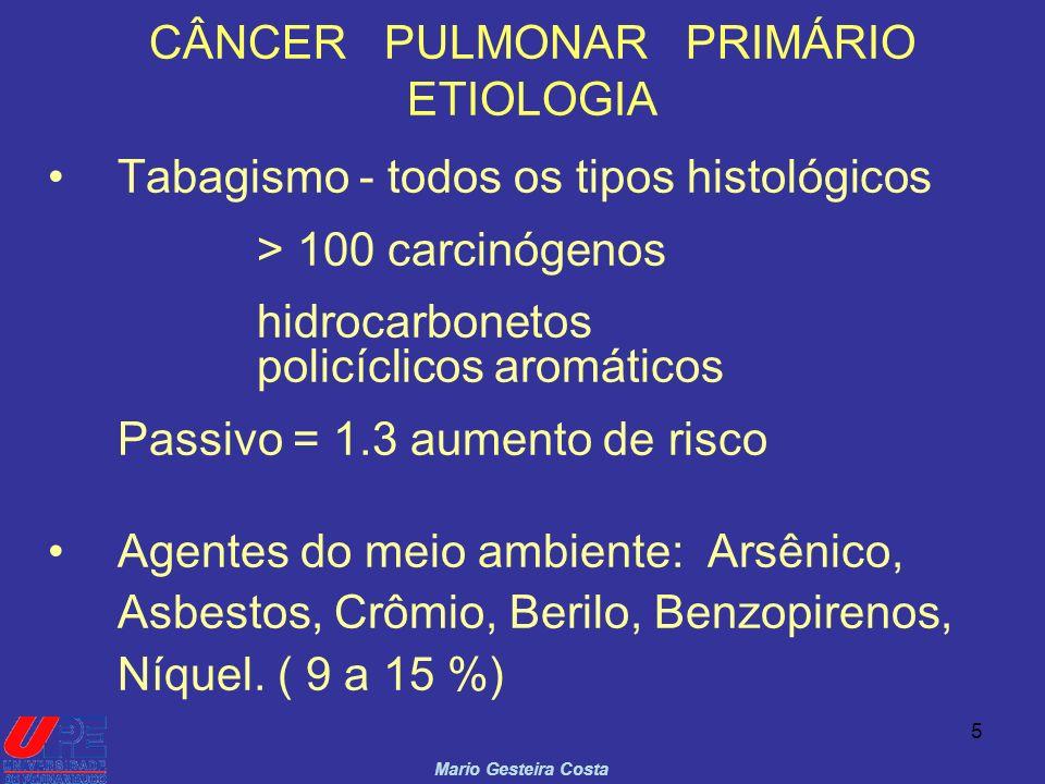 5 CÂNCER PULMONAR PRIMÁRIO ETIOLOGIA Tabagismo - todos os tipos histológicos > 100 carcinógenos hidrocarbonetos policíclicos aromáticos Passivo = 1.3