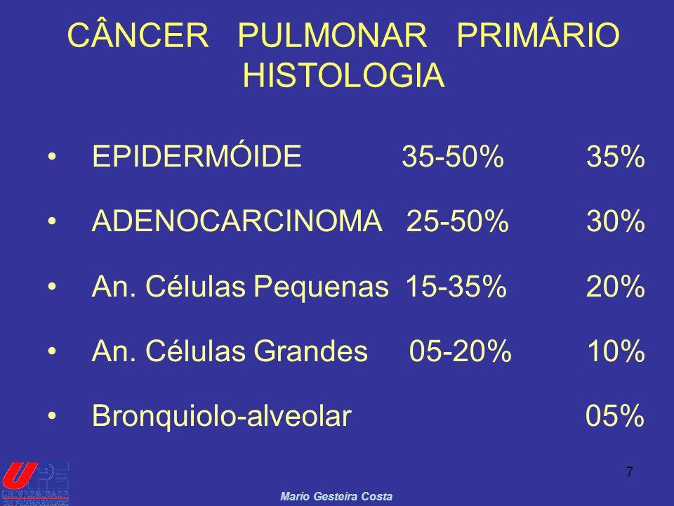 7 CÂNCER PULMONAR PRIMÁRIO HISTOLOGIA EPIDERMÓIDE 35-50%35% ADENOCARCINOMA 25-50%30% An. Células Pequenas 15-35%20% An. Células Grandes 05-20%10% Bron