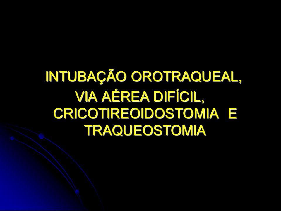 INTUBAÇÃO OROTRAQUEAL, INTUBAÇÃO OROTRAQUEAL, VIA AÉREA DIFÍCIL, CRICOTIREOIDOSTOMIA E TRAQUEOSTOMIA