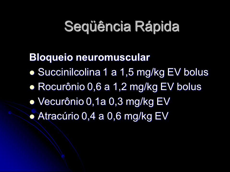 Seqüência Rápida Bloqueio neuromuscular Succinilcolina 1 a 1,5 mg/kg EV bolus Succinilcolina 1 a 1,5 mg/kg EV bolus Rocurônio 0,6 a 1,2 mg/kg EV bolus Rocurônio 0,6 a 1,2 mg/kg EV bolus Vecurônio 0,1a 0,3 mg/kg EV Vecurônio 0,1a 0,3 mg/kg EV Atracúrio 0,4 a 0,6 mg/kg EV Atracúrio 0,4 a 0,6 mg/kg EV
