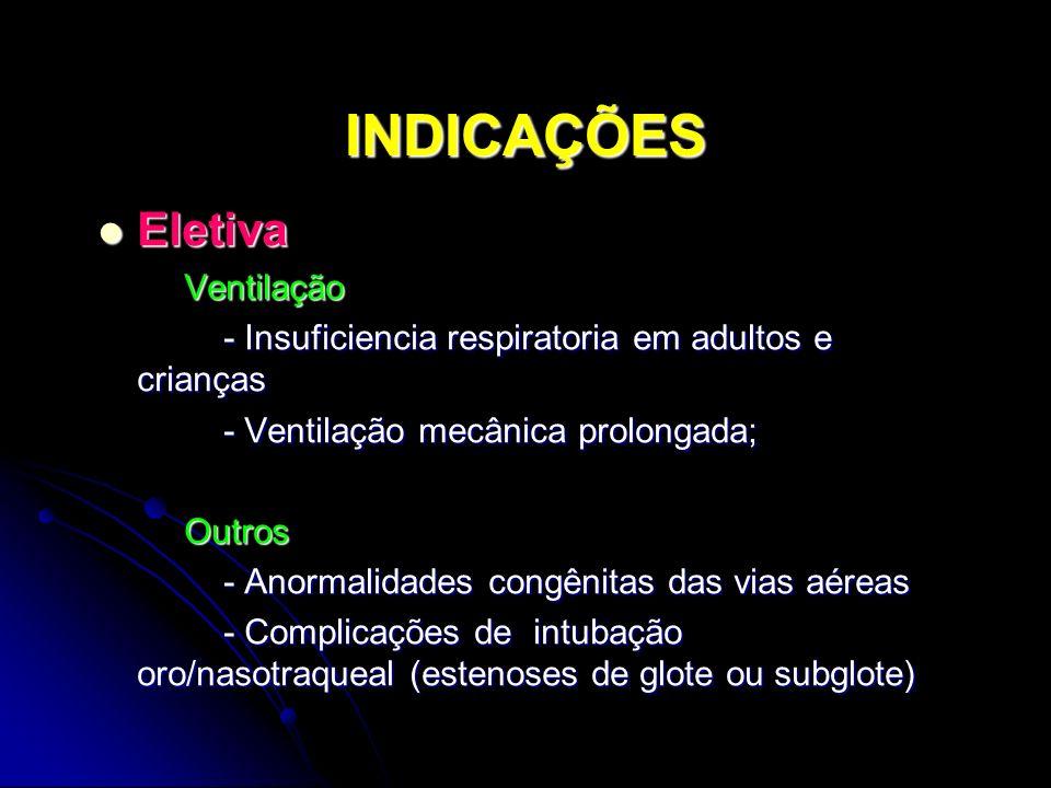 INDICAÇÕES Eletiva Eletiva Ventilação Ventilação - Insuficiencia respiratoria em adultos e crianças - Insuficiencia respiratoria em adultos e crianças - Ventilação mecânica prolongada; - Ventilação mecânica prolongada; Outros Outros - Anormalidades congênitas das vias aéreas - Anormalidades congênitas das vias aéreas - Complicações de intubação oro/nasotraqueal (estenoses de glote ou subglote) - Complicações de intubação oro/nasotraqueal (estenoses de glote ou subglote)