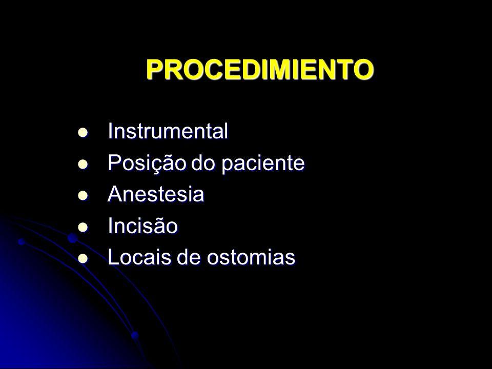 PROCEDIMIENTO Instrumental Instrumental Posição do paciente Posição do paciente Anestesia Anestesia Incisão Incisão Locais de ostomias Locais de ostomias
