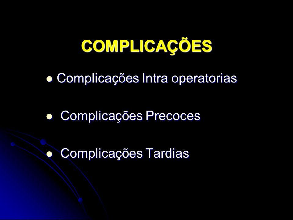 COMPLICAÇÕES Complicações Intra operatorias Complicações Intra operatorias Complicações Precoces Complicações Precoces Complicações Tardias Complicações Tardias
