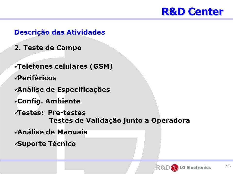 R&D 10 Descrição das Atividades 2. Teste de Campo Telefones celulares (GSM) Periféricos Análise de Especificações Config. Ambiente Testes: Pre-testes