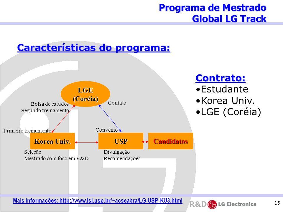 R&D 15 Programa de Mestrado Global LG Track Características do programa: LGE(Coréia) Korea Univ. USP Contato Divulgação Recomendações Seleção Mestrado