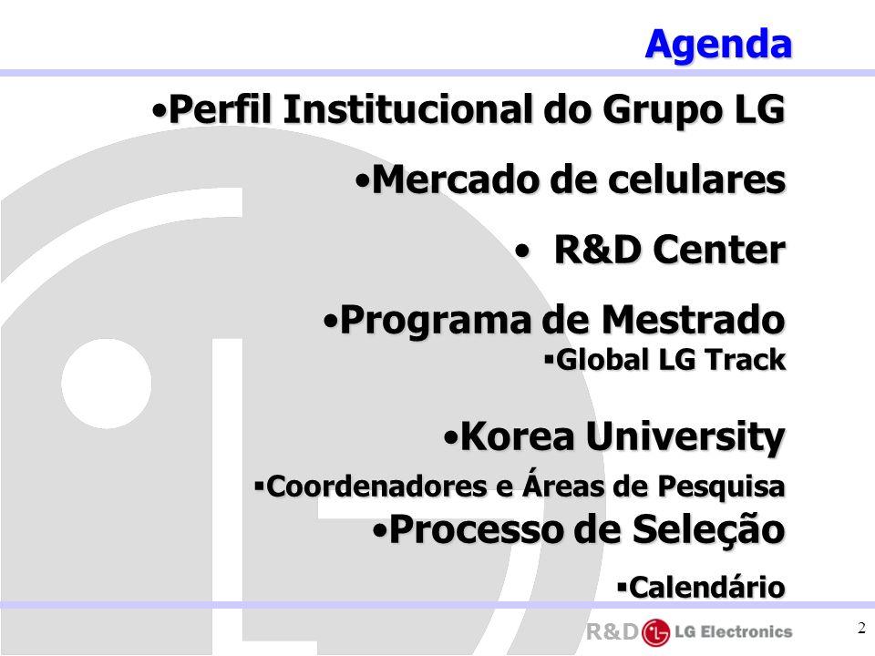 R&D 2 Perfil Institucional do Grupo LGPerfil Institucional do Grupo LG Mercado de celularesMercado de celulares R&D Center R&D Center Programa de Mest