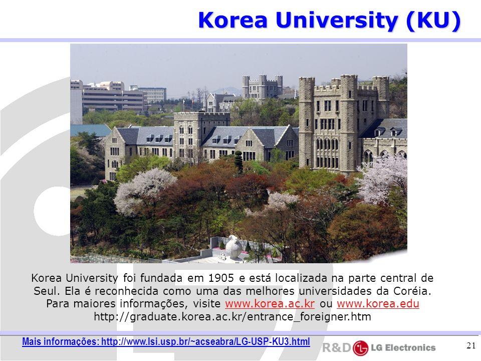 R&D 21 Korea University (KU) Korea University foi fundada em 1905 e está localizada na parte central de Seul. Ela é reconhecida como uma das melhores