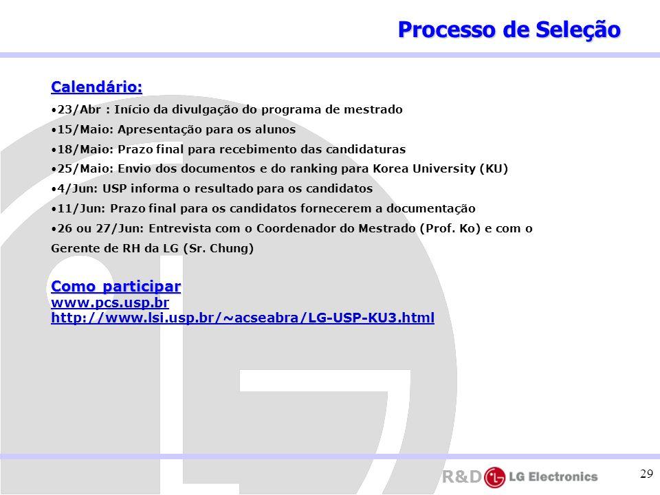 R&D 29 Calendário: 23/Abr : Início da divulgação do programa de mestrado 15/Maio: Apresentação para os alunos 18/Maio: Prazo final para recebimento da
