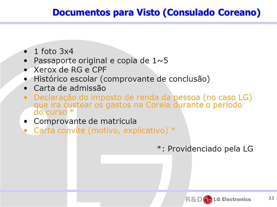R&D 33 1 foto 3x4 Passaporte original e copia de 1~5 Xerox de RG e CPF Histórico escolar (comprovante de conclusão) Carta de admissão Declaração do im