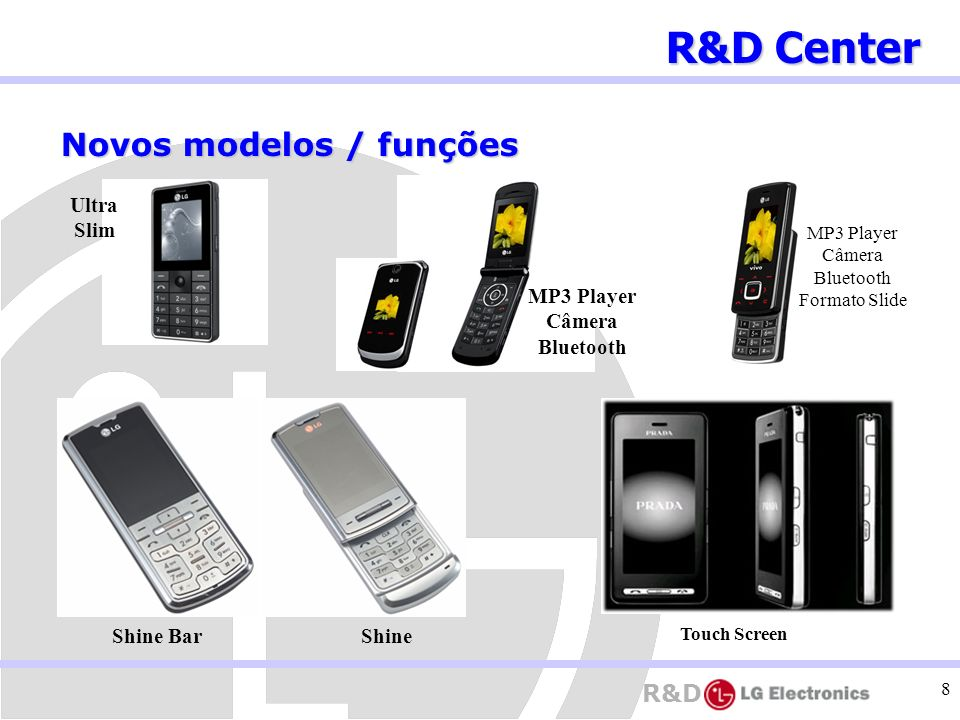 R&D 8 R&D Center Novos modelos / funções MP3 Player Câmera Bluetooth Formato Slide Ultra Slim MP3 Player Câmera Bluetooth Touch Screen Shine BarShine