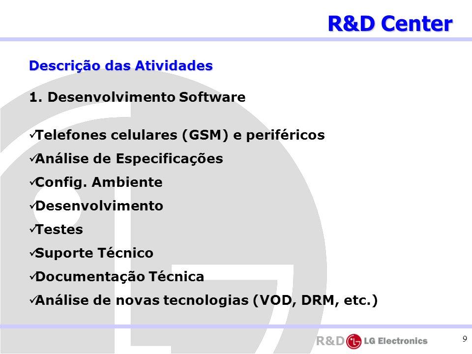 R&D 9 Descrição das Atividades 1. Desenvolvimento Software Telefones celulares (GSM) e periféricos Análise de Especificações Config. Ambiente Desenvol