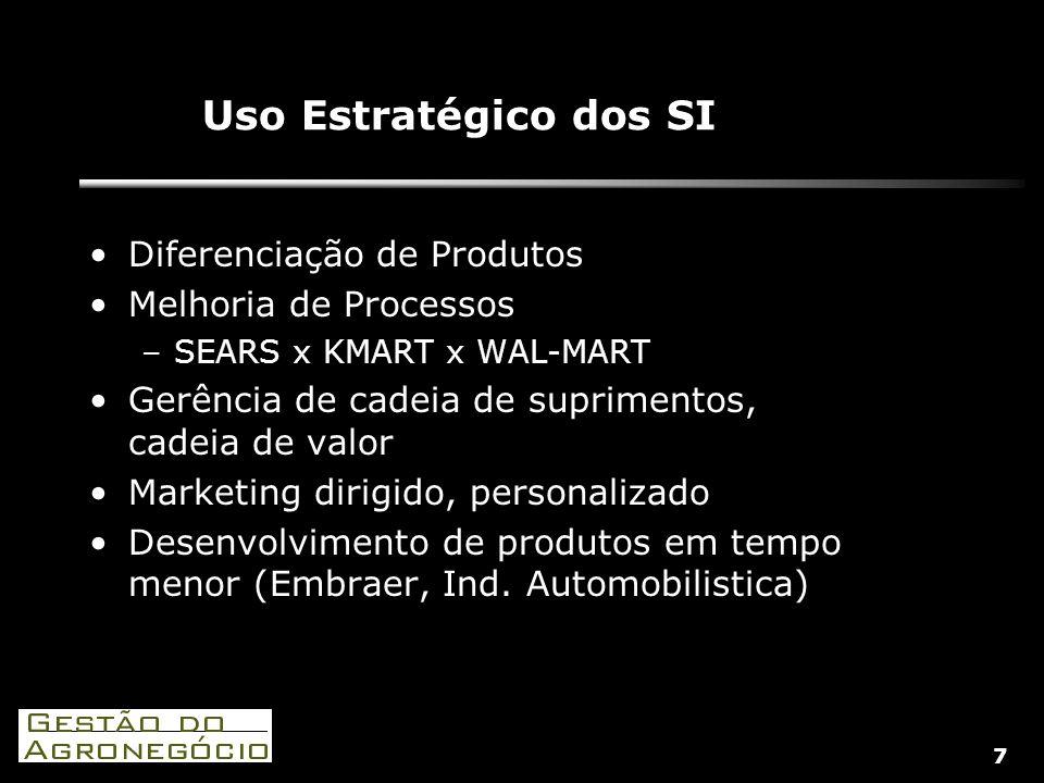 7 Uso Estratégico dos SI Diferenciação de Produtos Melhoria de Processos –SEARS x KMART x WAL-MART Gerência de cadeia de suprimentos, cadeia de valor Marketing dirigido, personalizado Desenvolvimento de produtos em tempo menor (Embraer, Ind.