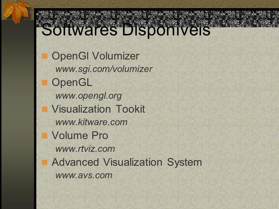 Softwares Disponíveis OpenGl Volumizer www.sgi.com/volumizer OpenGL www.opengl.org Visualization Tookit www.kitware.com Volume Pro www.rtviz.com Advan