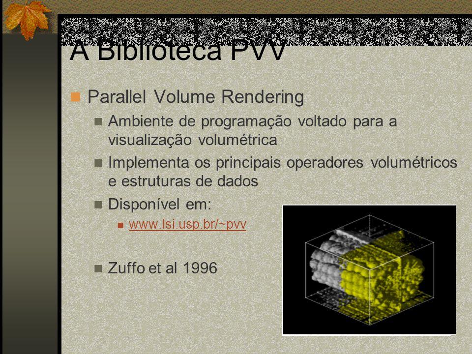A Biblioteca PVV Parallel Volume Rendering Ambiente de programação voltado para a visualização volumétrica Implementa os principais operadores volumét