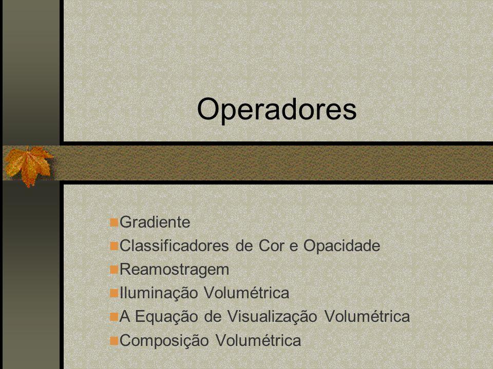 Operadores Gradiente Classificadores de Cor e Opacidade Reamostragem Iluminação Volumétrica A Equação de Visualização Volumétrica Composição Volumétri