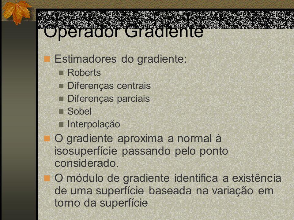 Operador Gradiente Estimadores do gradiente: Roberts Diferenças centrais Diferenças parciais Sobel Interpolação O gradiente aproxima a normal à isosup