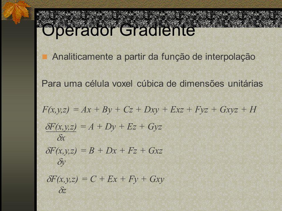 Analiticamente a partir da função de interpolação Para uma célula voxel cúbica de dimensões unitárias F(x,y,z) = Ax + By + Cz + Dxy + Exz + Fyz + Gxyz