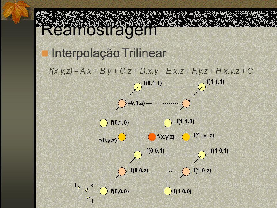 Reamostragem Interpolação Trilinear f(x,y,z) = A.x + B.y + C.z + D.x.y + E.x.z + F.y.z + H.x.y.z + G