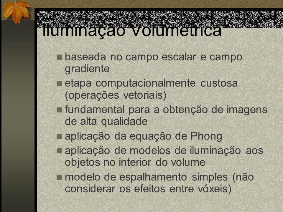 Iluminação Volumétrica baseada no campo escalar e campo gradiente etapa computacionalmente custosa (operações vetoriais) fundamental para a obtenção d