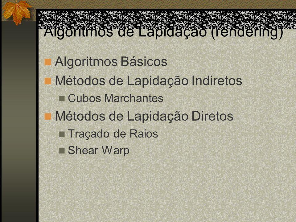 Algoritmos de Lapidação (rendering) Algoritmos Básicos Métodos de Lapidação Indiretos Cubos Marchantes Métodos de Lapidação Diretos Traçado de Raios S