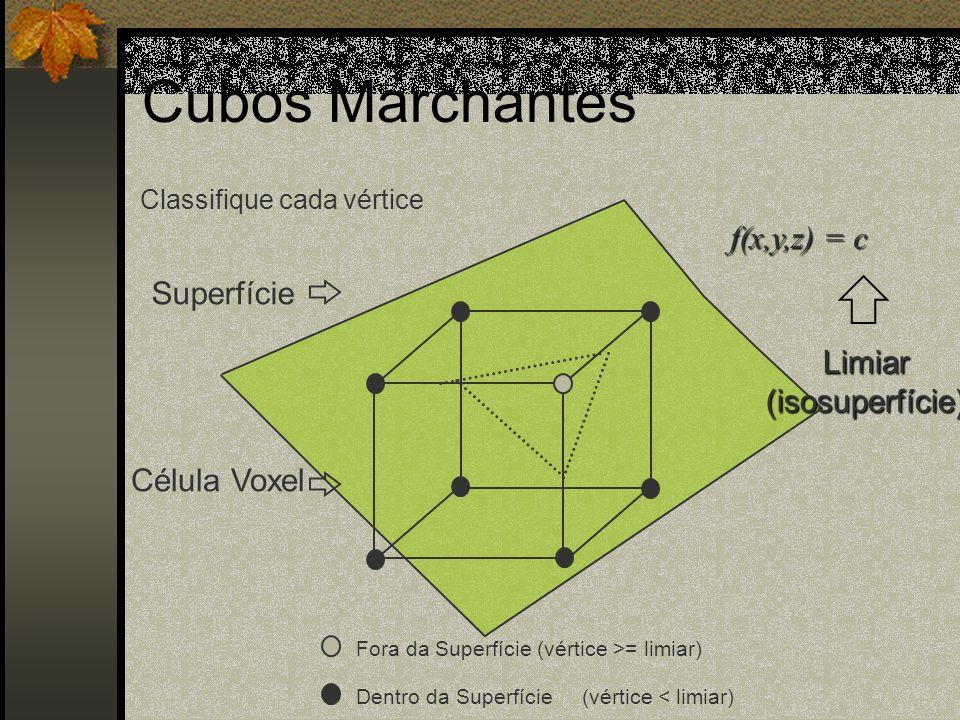 Classifique cada vértice Fora da Superfície (vértice >= limiar) Dentro da Superfície (vértice < limiar) Superfície Célula Voxel f(x,y,z) = c Limiar(is